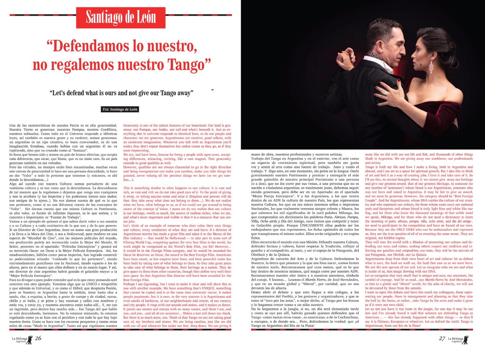 "Articolo de ""La Milonga Argentina"""
